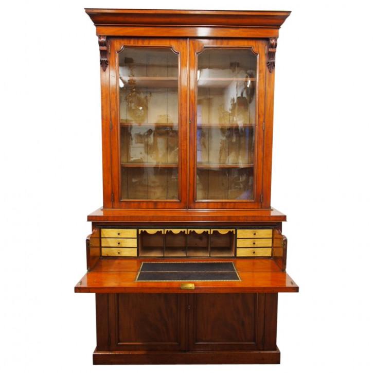 Antiker Viktorianischer Mahagoni Sekretär Bücherschrank ca. 1870