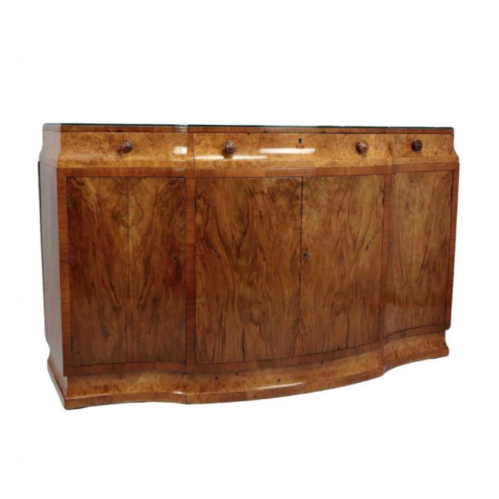 Art deco Antikes Englisches Grat Nussbaum Sideboard von Maple & co. ca. 1930