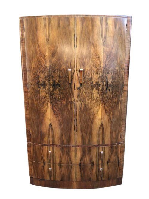 Antiker Art Deco Nussbaum Kleiderschrank englisch Bowfront ca 1930