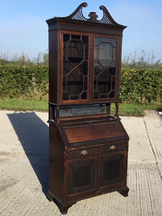 Edwardianisches antikes Bureau Bookcase Mahagoni Aufsatzsekretär ca 1890