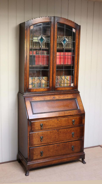 Antikes Art Deco Eichen Bureau Bookcase Sekretär Bücherschrank englisch ca 1930