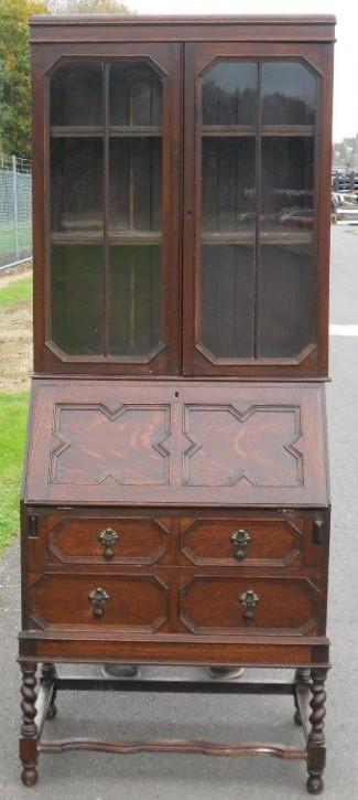 Jakobinischer antiker Aufsatzsekretär Eiche Bureau Bookcase ca 1920