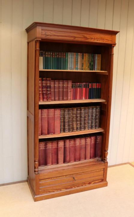 Antikes französisches Kiefern Bücherregal Weichholz ca 1900