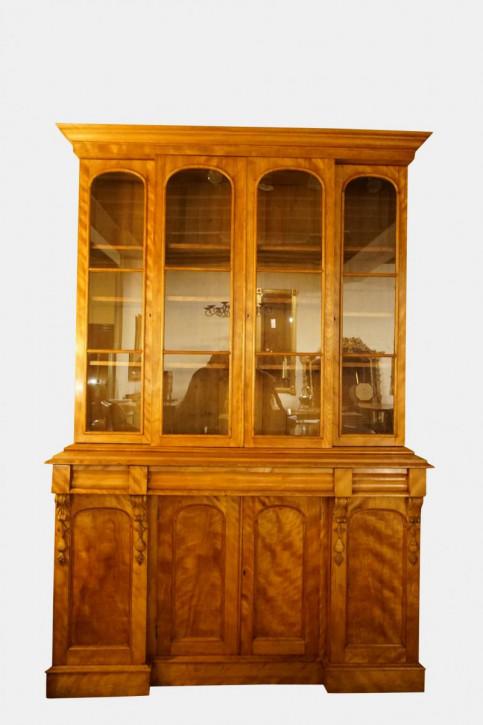 Antiker britischer Nussbaum Birken Bücherschrank can 1850