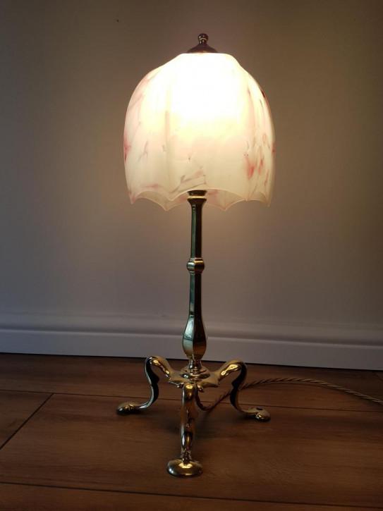 Antike englische Pullman Tischlampe Messing Faraday & Son ca 1910