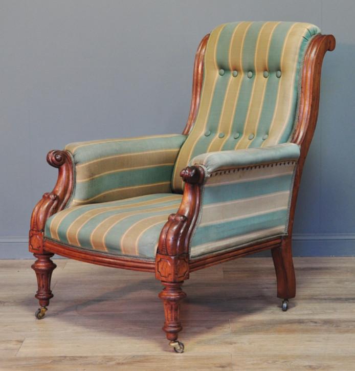 Viktorianischer antiker Sessel Nussbaum Polstersessel englisch ca 1880
