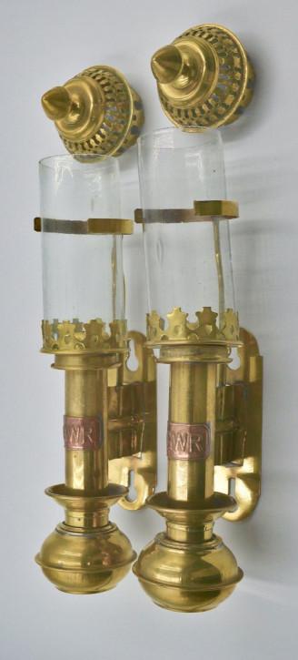 Antike englische Messing Kupfer Wandlampen ca 1940