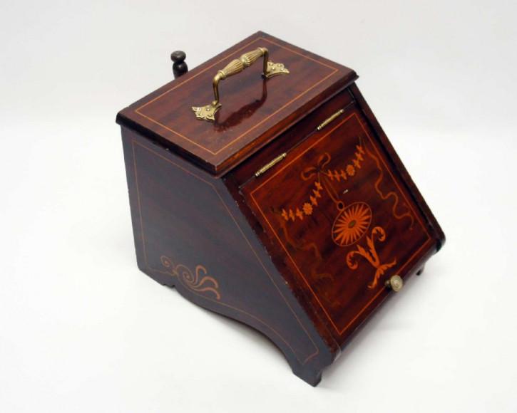 Edwardianische Kohlebox Kohlebehälter Mahagoni antik ca 1890