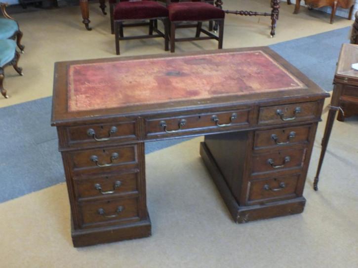 Edwardianischer antiker Schreibtisch Eiche englisch ca 1890