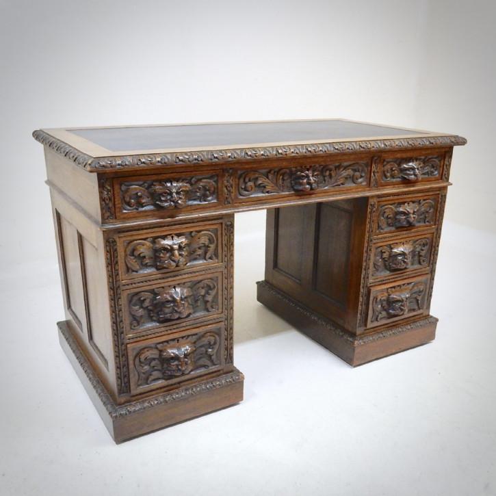 Britischer antiker Schreibtisch Eiche original ca 19. Jh