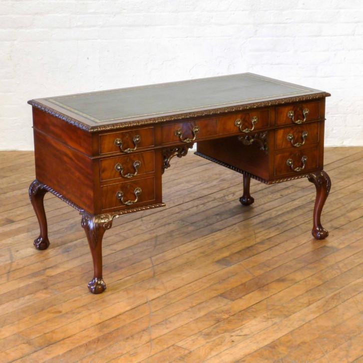 Edwardianischer antiker Mahagoni Schreibtisch englisch ca 1890