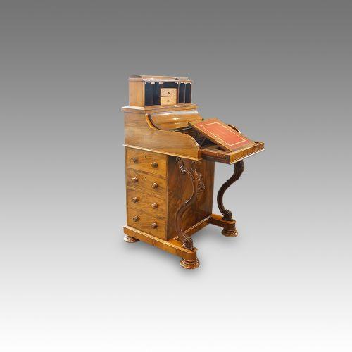 Viktorianischer antiker Pop up Davenport Schreibtisch Nussbaum ca 1850