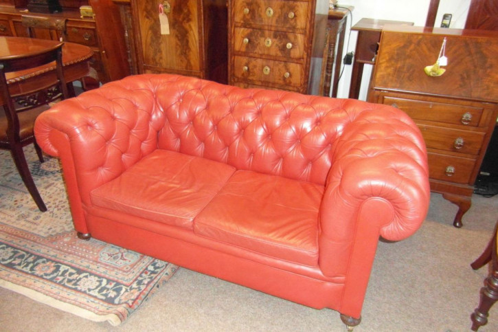 Viktorianisches Antikes Chesterfield Leder Sofa englisch ca. 1860