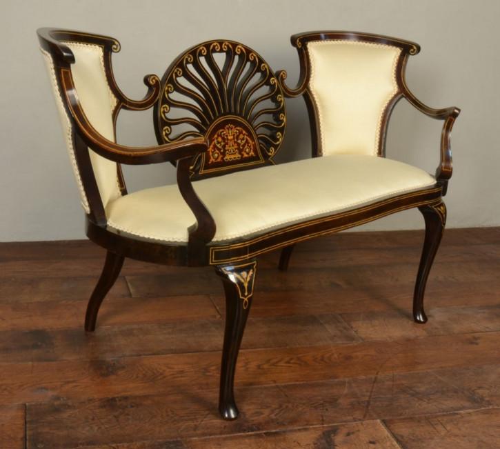 Viktorianisches Antikes Englisches Mahagoni Boudoir Sofa ca. 1870