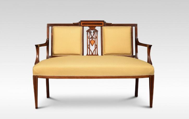 Antikes Edwardianisches Englisches Mahagoni Sofa ca. 1900