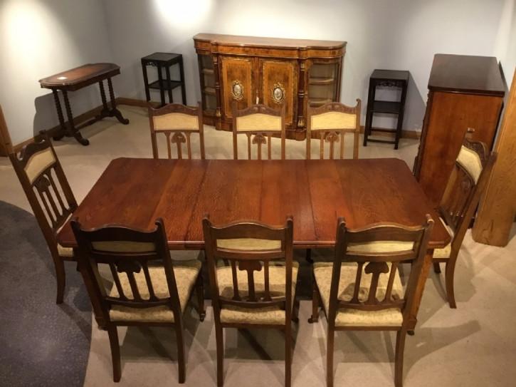 Britischer Arts & Crafts Esstisch Eiche antik original Eichen Stühlen ca 1900