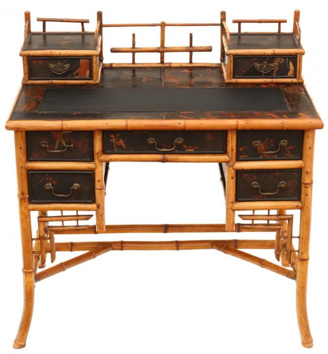 Viktorianischer Chinoiserie Bambus Schreibtisch antik ca 1900