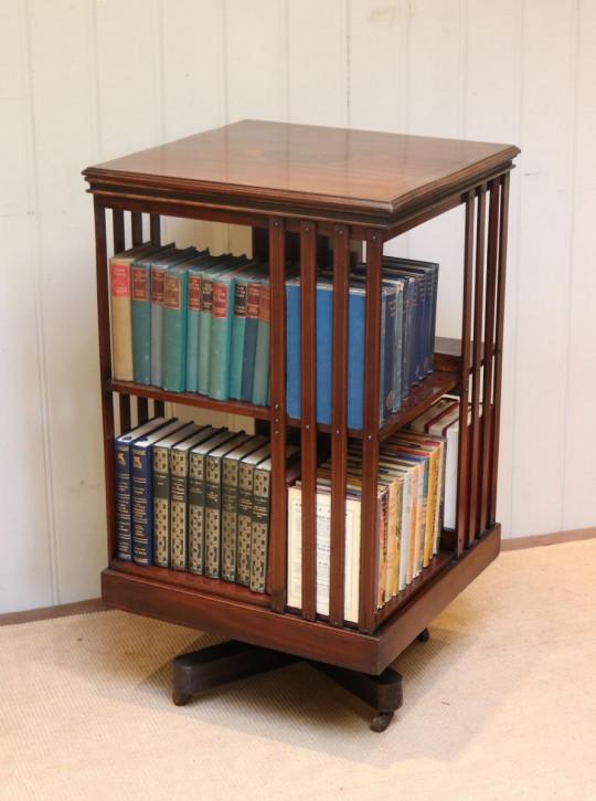 Edwardianisches Mahagoni Revolving Bookcase Bücherregal antik ca 1910