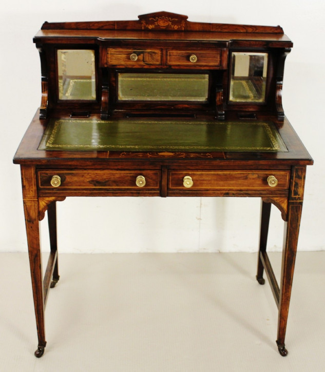 Edwardianischer antiker Palisander Schreibtisch Ladies Desk britisch ca 1890