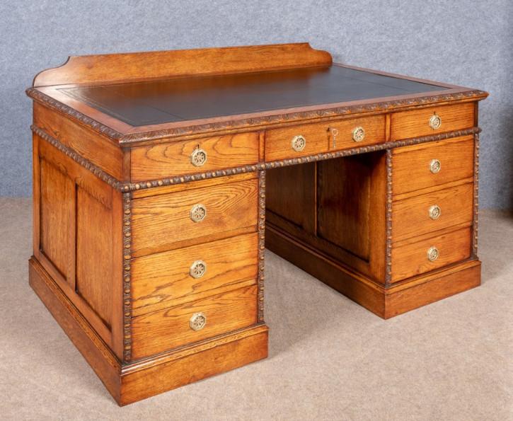 Edwardianischer Eichen Schreibtisch antik britisch ca 1910