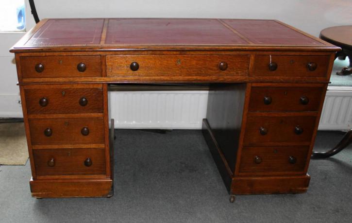 Viktorianischer Eichen Schreibtisch antik englisch ca 1850