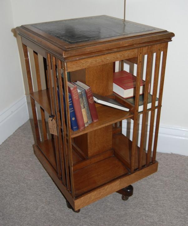 Britisches Bücherregal Eiche Revolving Bookcase antik ca 1920