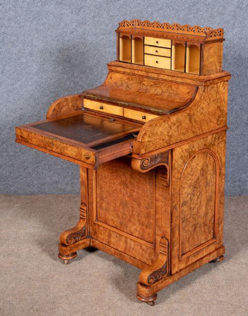 Viktorianischer antiker Davenport Schreibtisch Nussbaum englisch ca 1870