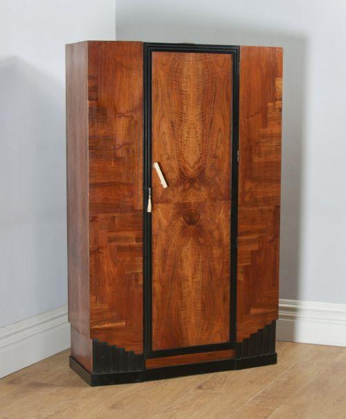 Antiker Art Deco Kleiderschrank Nussbaum britisch ca 1930