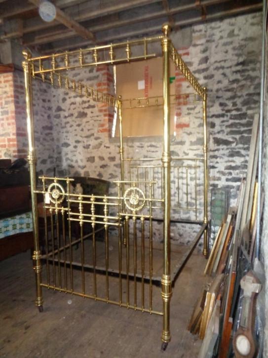Antikes viktorianisches Messing Bett Doppelbett englisch ca 1850