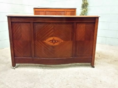 Edwardianisches original antikes Mahagoni Doppelbett englisch ca 1900