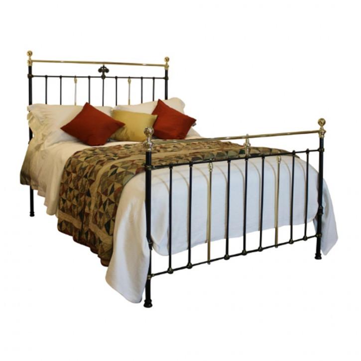 Viktorianisches antikes Bett Messing Gusseisen englisch ca 1890
