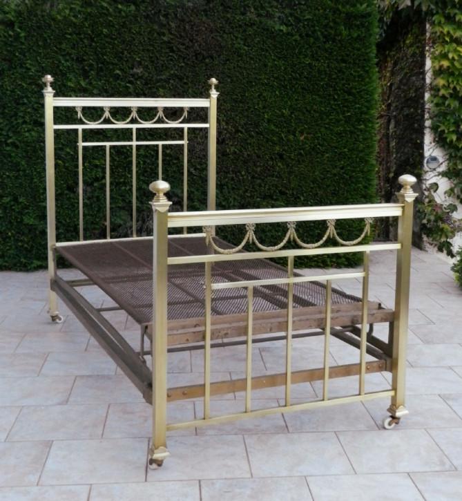Antikes französisches Messing Bett Napoleon III ca 1870
