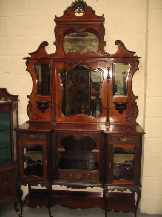 Viktorianische Mahagoni Vitrine Sideboard antik ca 1900