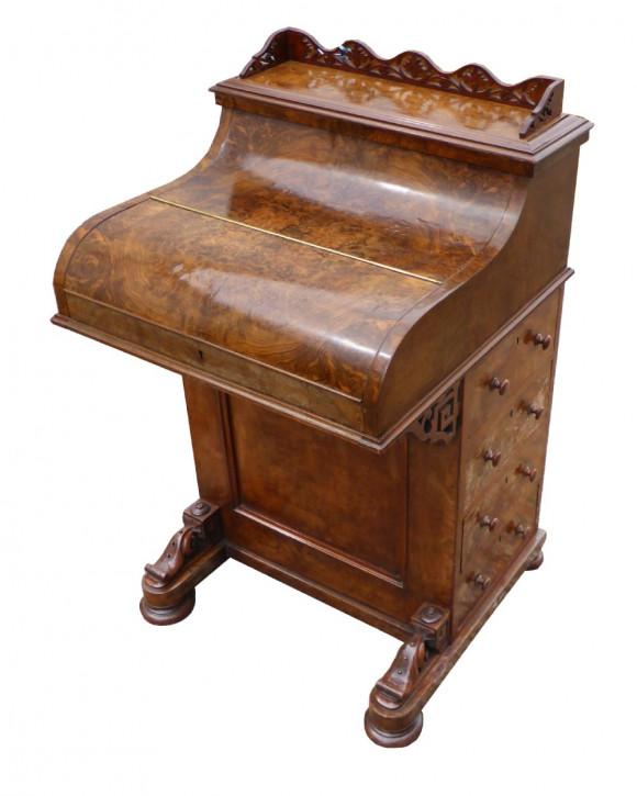 Viktorianischer Davenport Schreibtisch Nussbaum englisch antik ca 1850