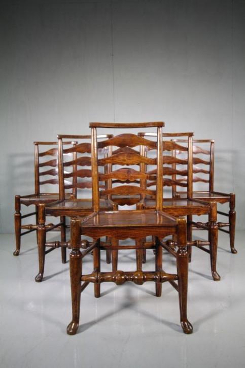 Georgianische antike Esszimmer Stühle Esche englisch ca. 1800