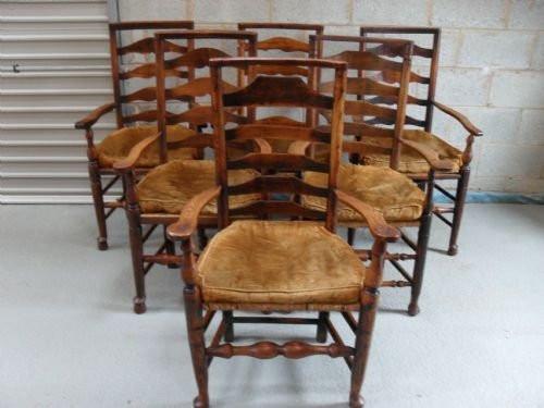 Antike englische Esszimmer Stühle Eiche 19. Jh