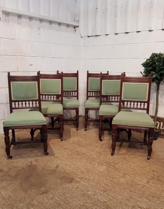 Antike viktorianische Esszimmer Stühle Eiche britisch ca 1880