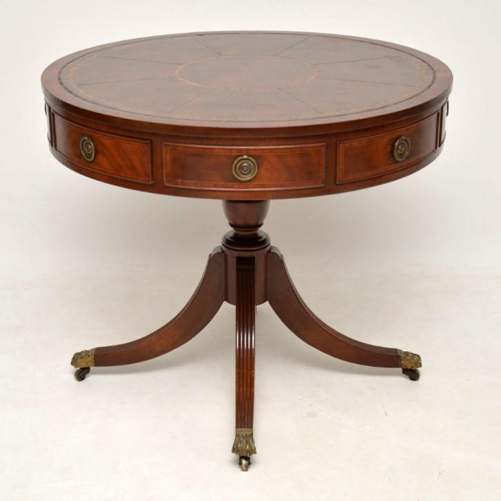 Antiker englischer Mahagoni Trommeltisch Tisch ca 1920