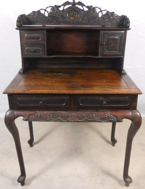 Orientalischer Antiker Padouk Holz Schreibtisch ca. 1900
