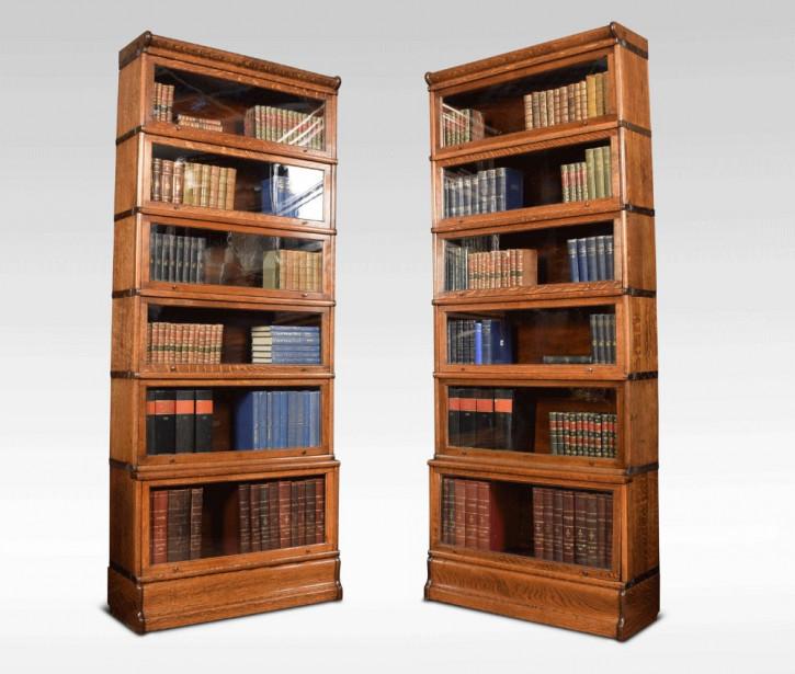 Antikes Englisches Paar Eichen Globe Wernicke Bücherregale ca. 1900