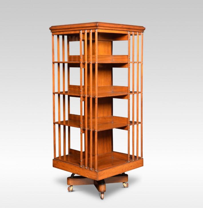Antikes englisches Revolving Bookcase Nussbaum Bücherregal ca 1900