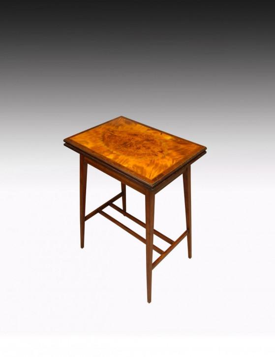 Antiker Englischer Satinholz Intarsien Spieltisch ca. 19. Jh.
