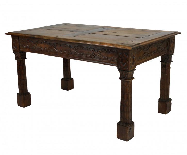 Französischer Antiker Gotischer Revival Eichen Esstisch ca. 1800