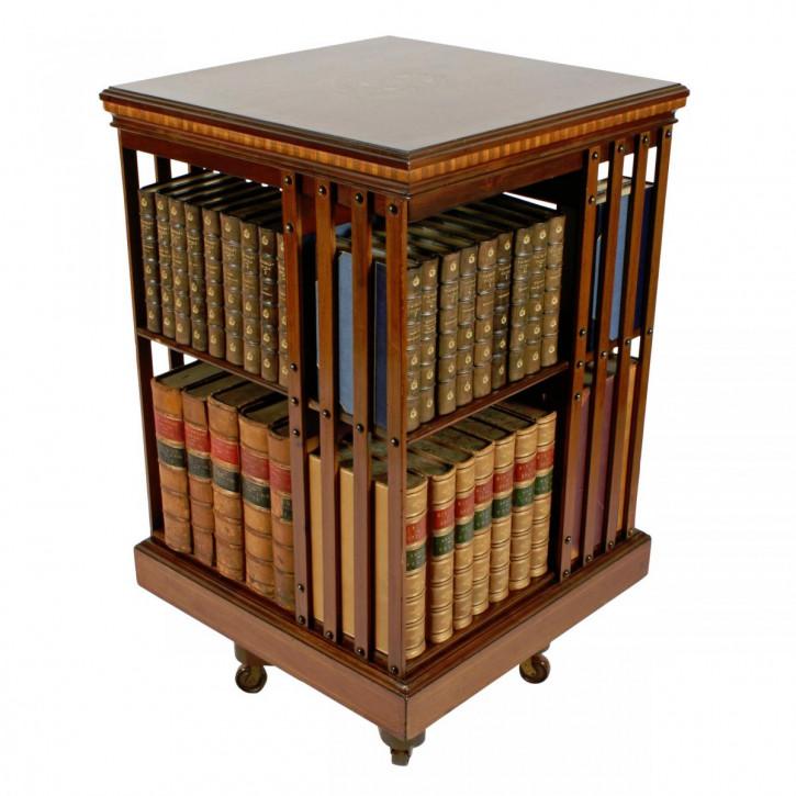 Antikes britisches Revolving Bookcase Mahagoni Bücherregal ca 1890