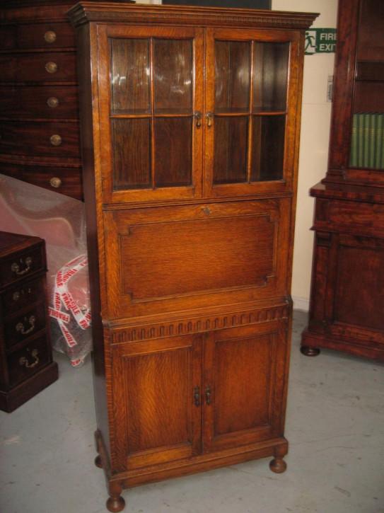 Antiker Bureau Bookcase Eiche Bücherschrank Aufsatzsekretär britisch ca 1920