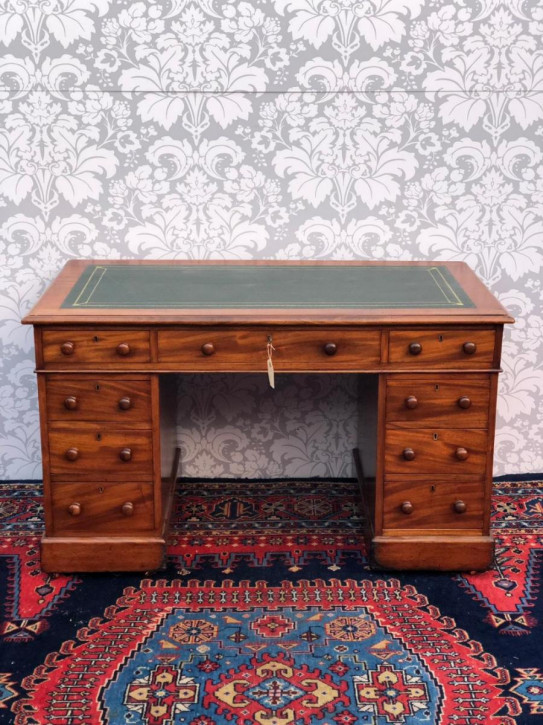 Viktorianischer antiker Schreibtisch Mahagoni englisch ca 1850
