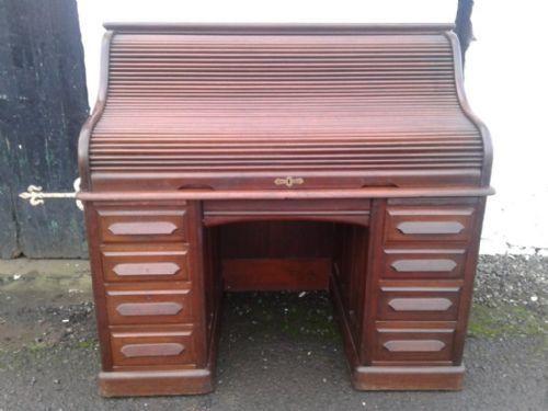 Viktorianischer antiker Mahagoni Schreibtisch Rolltop englisch ca 1850