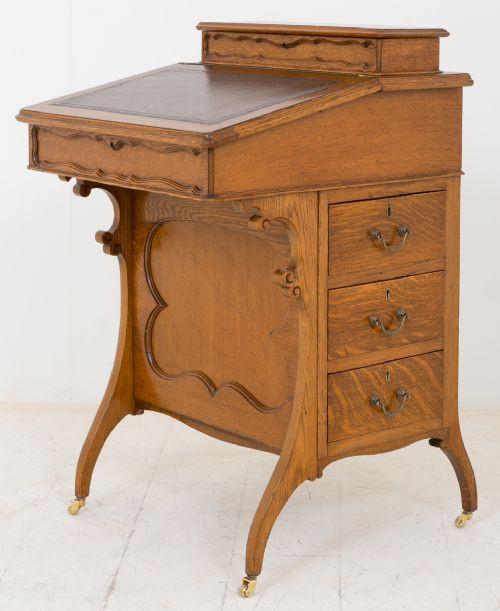 Arts & Crafts Davenport Schreibtisch Eiche antik ca 1890