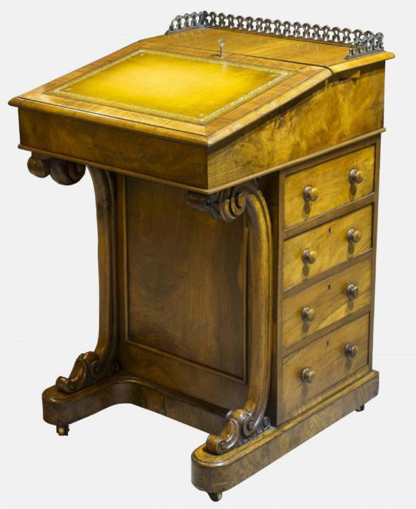 Antiker britischer Davenport Schreibtisch Mahagoni Nussbaum ca 1840