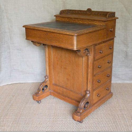 Antiker britischer Davenport Schreibtisch Eiche 19. Jh